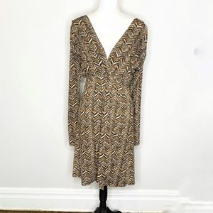Veronica M. Long Sleeve Chevron Dress Lg.